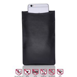 Cell Phone & Tablet Sleeve - Genuine Black Leather Sleeve Perfect For Blocking All Wireless Signal, GPS, Wifi, Bluetooth, RFID & NFC - Prevents Identity...